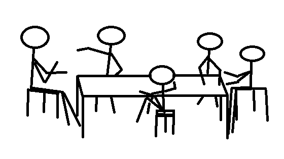 stick figure drawing of a study group