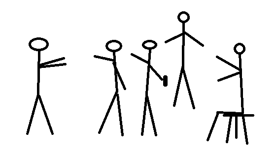 stick figure drawing of a people gathering